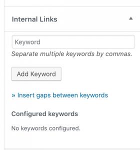 The keyword meta box in the editor