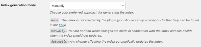 settings for the index generation mode - overview