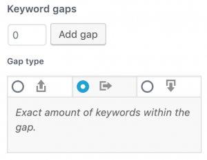 configuration of the keyword gaps
