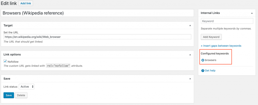 the keyword editor shows the configured keywords