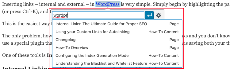The popup that appears when adding or editing a link in the WordPress editor.