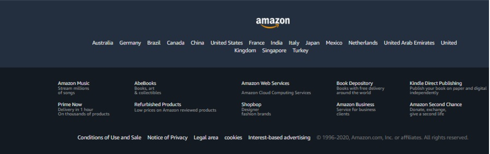 Example: the footer area of amazon.com
