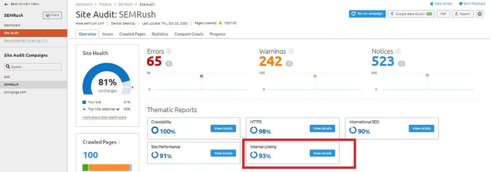 The internal linking score on site audit report of SEMrush