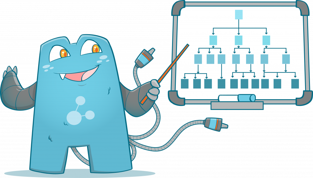 Internal Link Juicer Mascot pointing a board with graphs