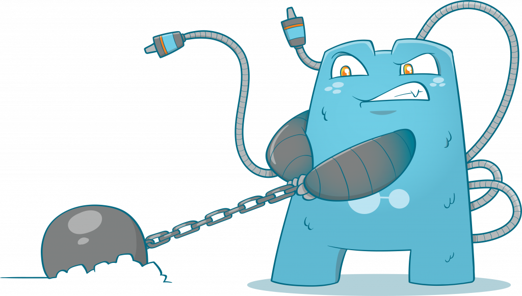 Internal Link Juicer Mascot pulling a ball and chain
