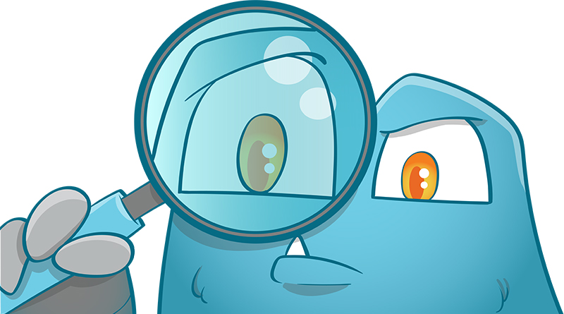 Internal Link Juicer Mascot curiously looking through a magnifying glass for internal link audit