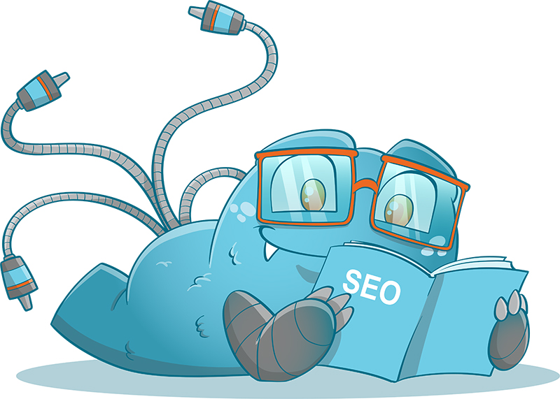 Internal Link Juicer Mascot reading an SEO book about what are internal links and external links