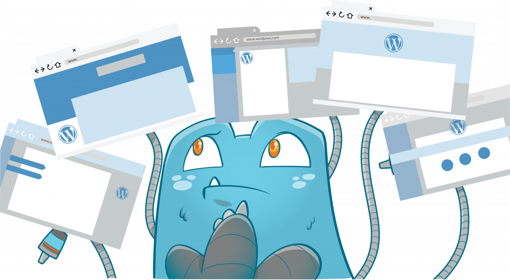 Internal Link Juicer Mascot thinking while looking at browser windows - automatic internal linking plugin