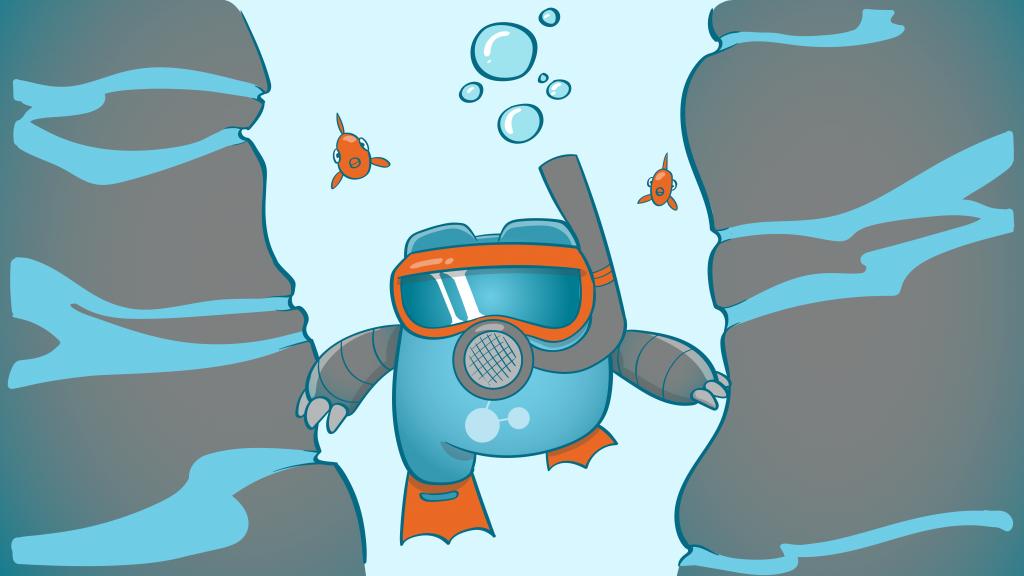 Internal Link Juicer Mascot scuba diving