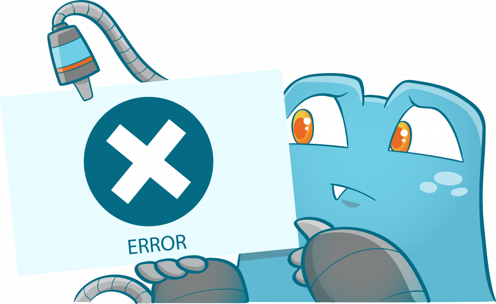 Internal Link Juicer Mascot holding a board with an error message and icon written on it