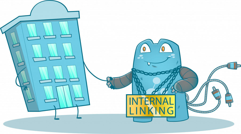 Internal Link Juicer Mascot, with a Internal Linking chain on the neck, shaking hands to a building.