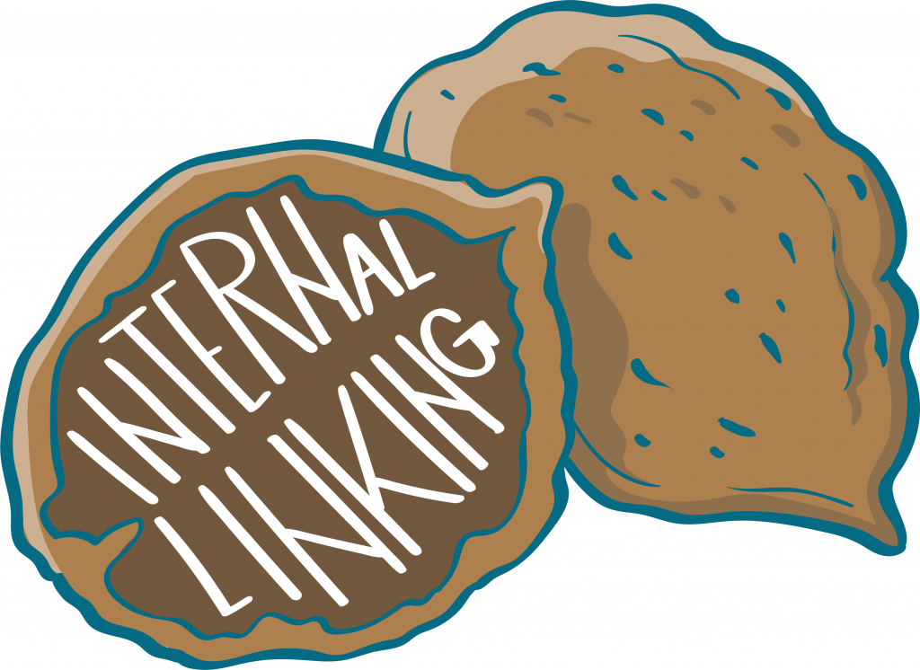 """Cracked nutshell with the words """"Internal Linking"""" inside."""