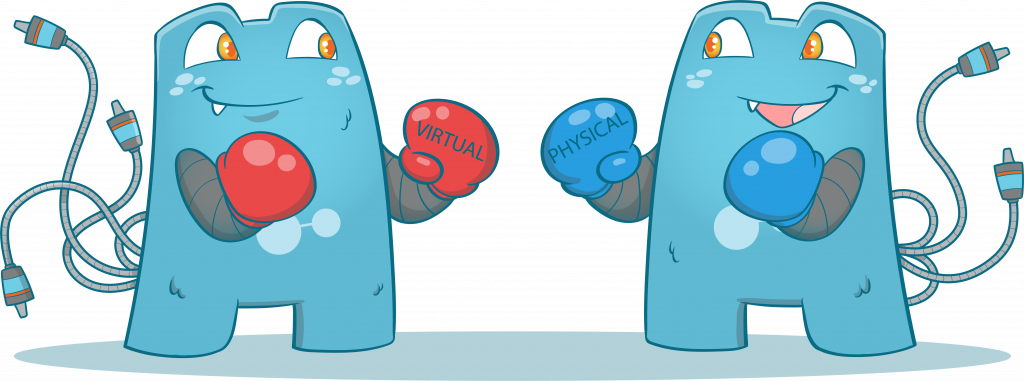 """Internal Link Juicer mascots, one with red boxing gloves with the word """"virtual"""", while the other has blue with the word """"physical"""""""